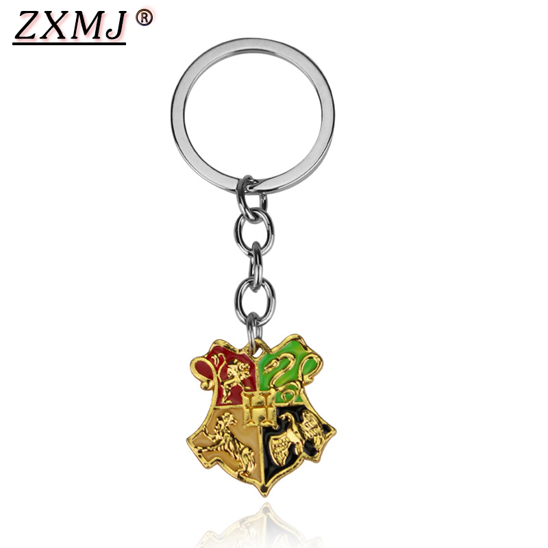 ZXMJ Harried Hogwarts Gryffindor Hufflepuff Ravenclaw Slytherin Potters Magic College Keychain Keyring For Fans Jewelry Gift