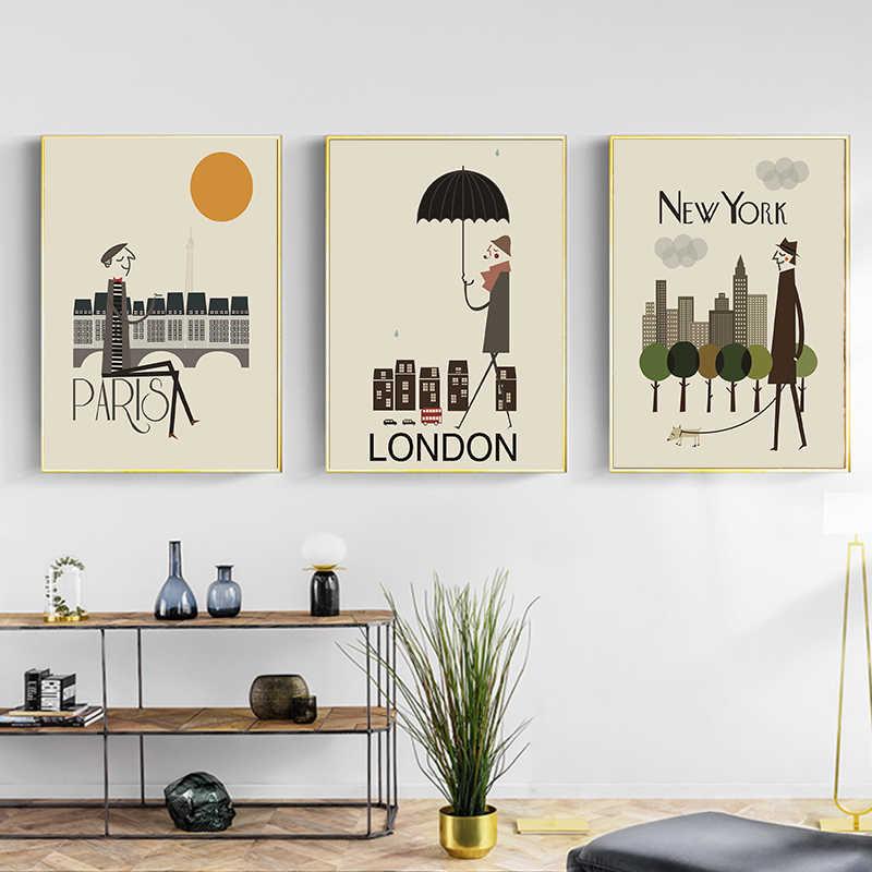 La Mattina della Città di Londra New York Poster Paesaggio di Arte della Tela di Canapa Pittura Immagine Della Parete di Stampa Moderna Vivere La Casa Decorazione Della Stanza