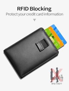 Image 5 - NewBring kart durumda siyah inek deri cüzdan para klip RFID blok sürücü lisans nakit OrganizerMen iş kredi kartı sahibi