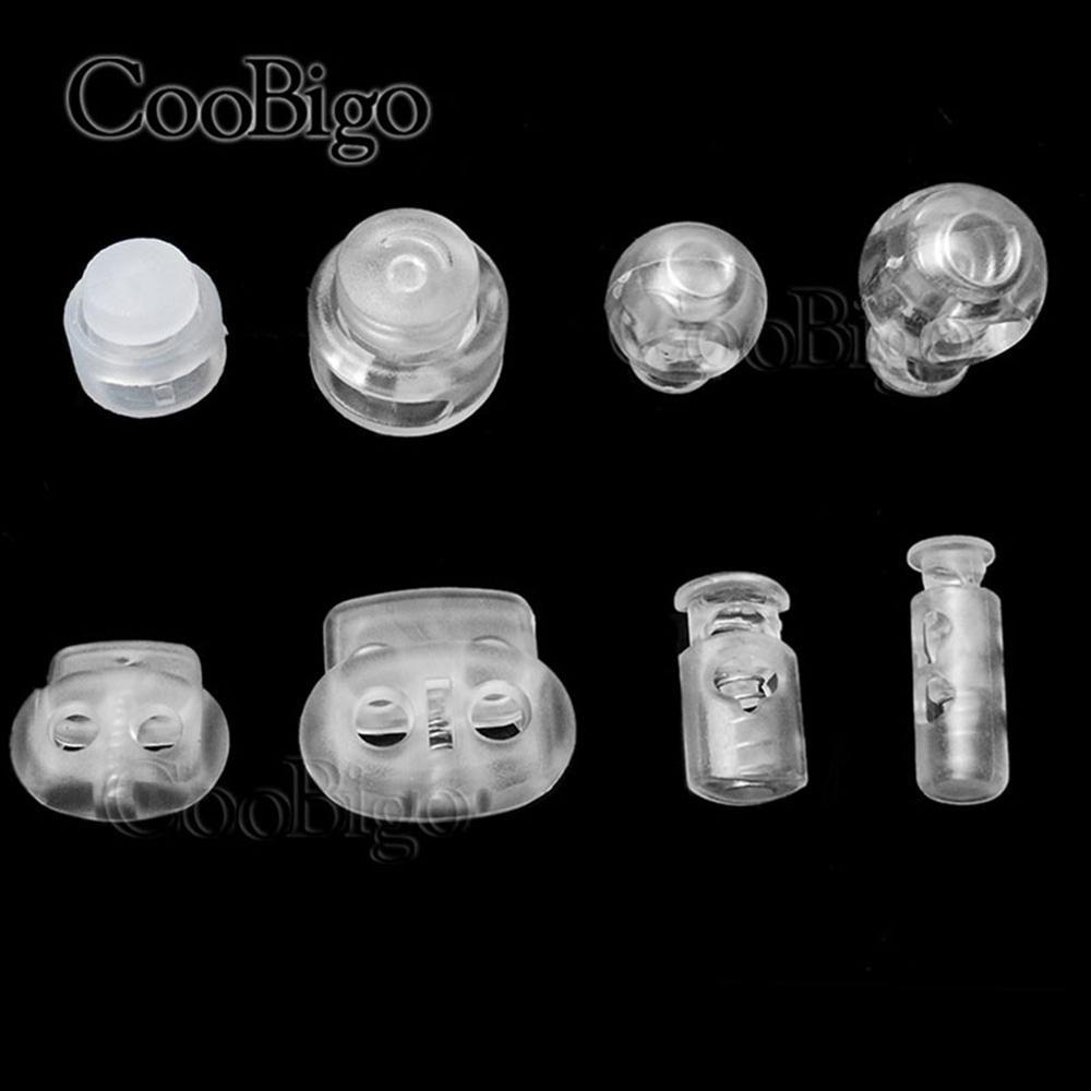 Ponteira de fivela para óculos 50 peças, transparente bloqueio de cabo de rolha de plástico fivela de esporte roupas diy acessórios bolsa
