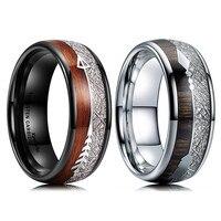 FDLK-anillo de acero inoxidable para hombre, banda de boda con incrustaciones de flecha de madera Koa, accesorios de moda, color blanco y negro, tamaño 6-13, 8mm