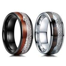 FDLK 8mm anello in acciaio inossidabile bianco e nero Koa freccia in legno intarsio fascia da sposa accessori moda uomo taglia 6-13