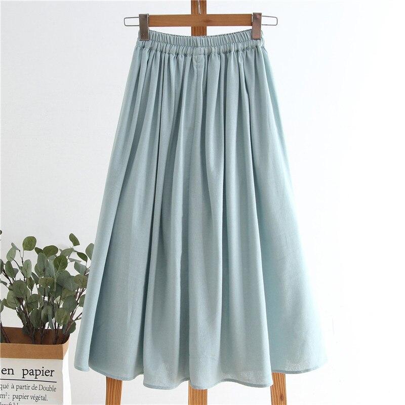 2020 New Women Summer Cotton Skirt Stretch High Waist Women Boho Sky Blue Long Skirt With Poacket Faldas Jupe Femme Saia
