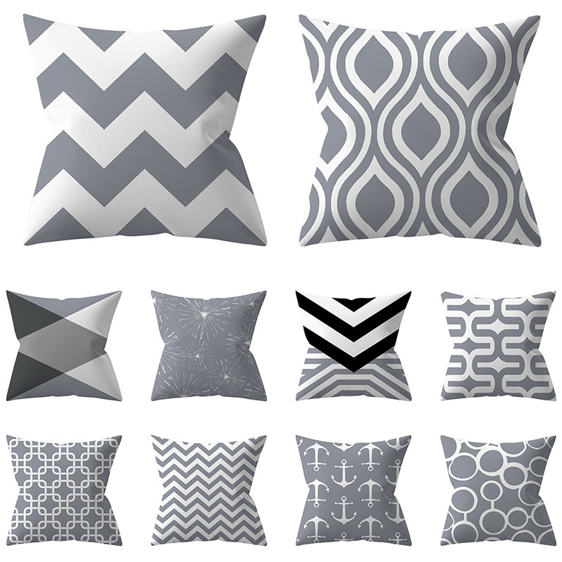 Cushion Cover 45x45 Decorative Pillowcase Grey Geometry Throw Pillows Polyester Sofa Cushions Nordic Home Decor Pillow Cases