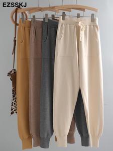 Women's Pants Drawstring-Trousers Bottoms Elastic-Waist Swear Knitted Winter Sport Thick