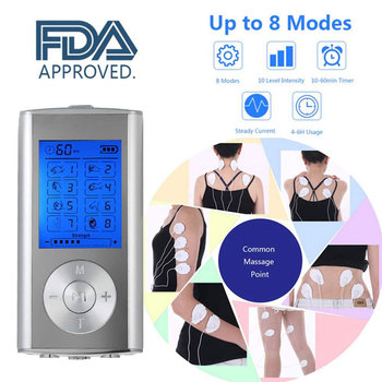 TENS EMS Unit 8 Modes Digital Palm Device Best Pain Relief Machine for Neck Back Lumbar Muscle Stimulator Therapy Body Massager