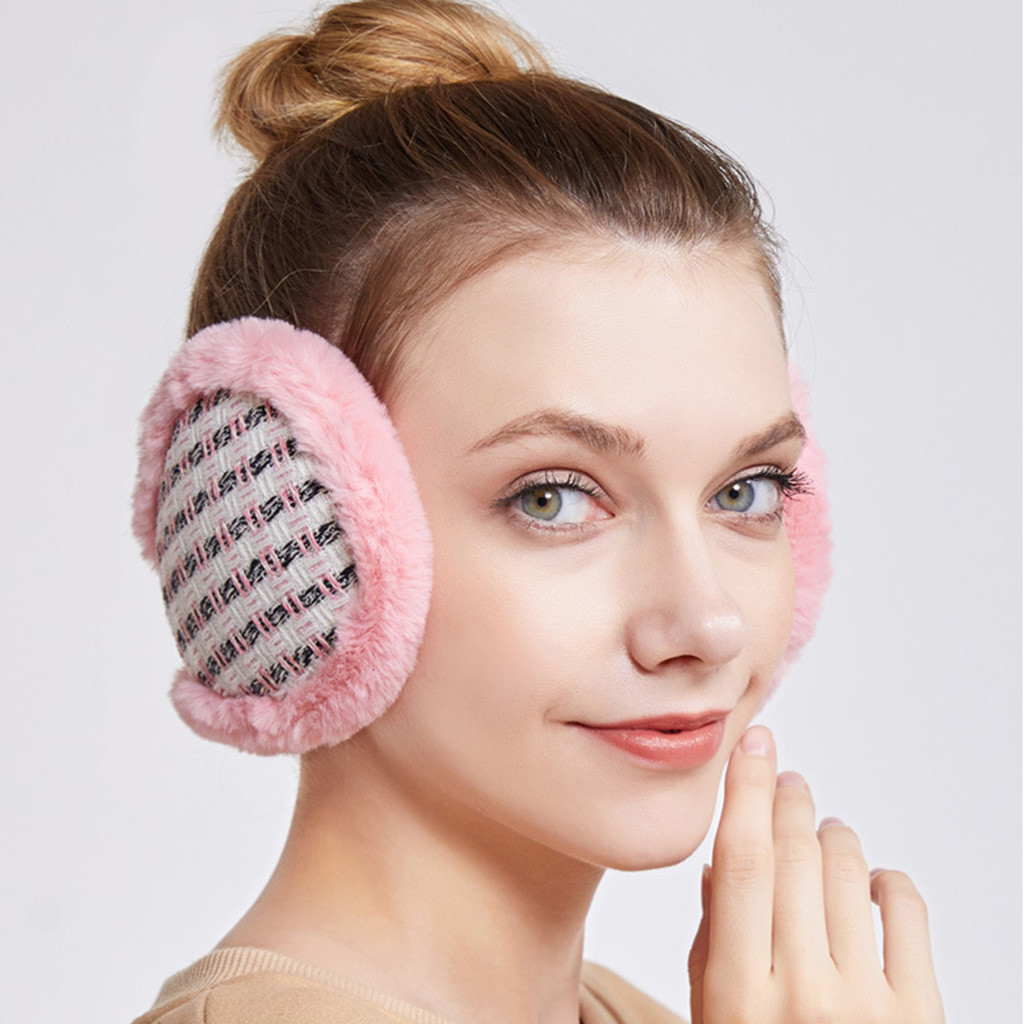 Winter Earmuffs Men And Women Lattice Element Plush Warm Protection Ear Frostbite Earmuffs Daily Leisure Wild Simple Design