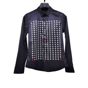 Image 5 - Camisa Masculina 가을 남성 셔츠 성격 인쇄 남성용 긴 소매 셔츠 Luxury Night Club Tuxedo Dress Camisa Hombre