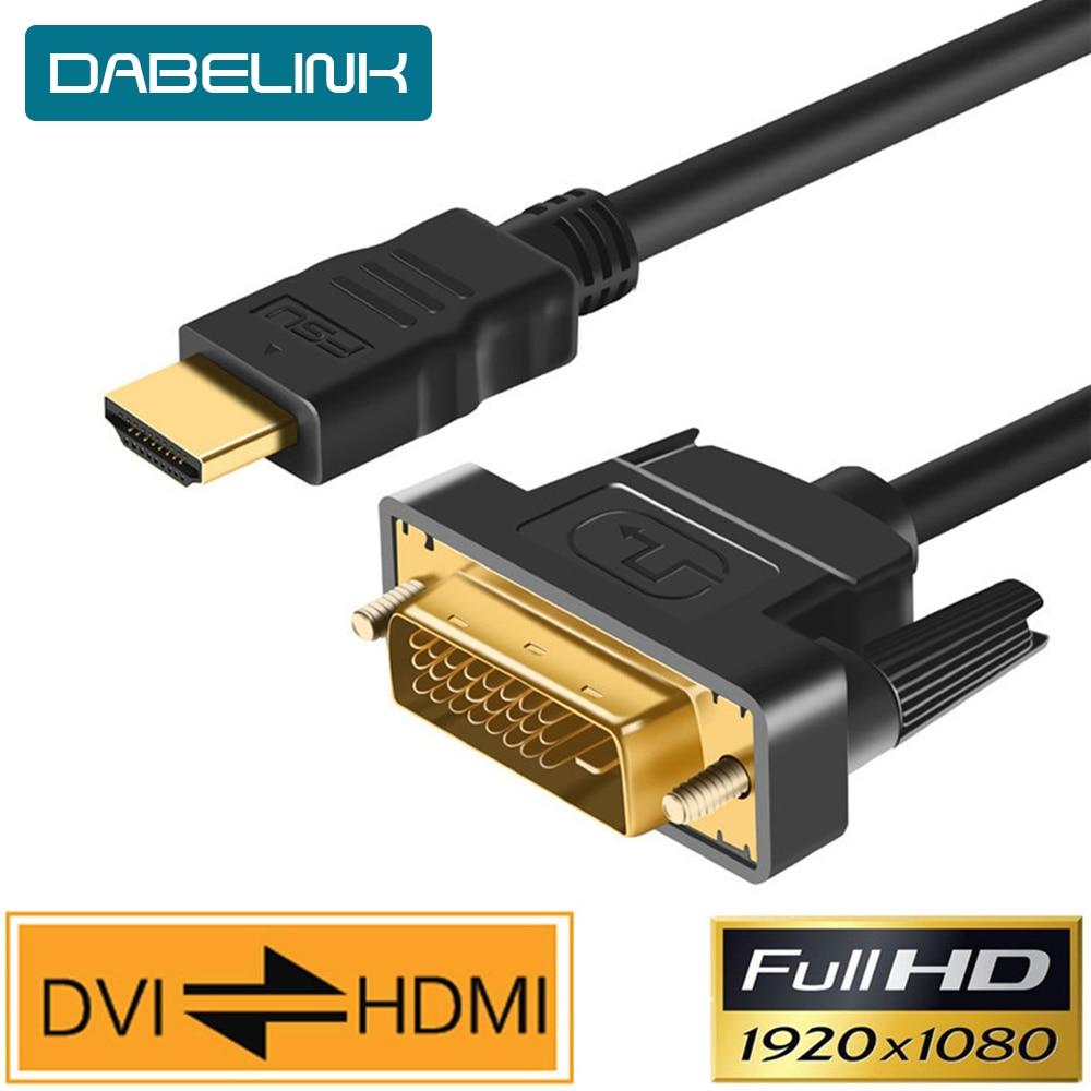 Hdmi para dvi cabo dvi para hdmi macho 24 + 1 DVI-D adaptador macho banhado a ouro 1080 p para hdtv dvd projetor playstation 4 ps4/3 caixa de tv