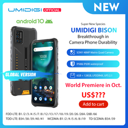 Смартфон UMIDIGI BISON IP68/IP69K защищенный, четыре камеры 48 МП, экран 6,3 дюйма FHD +, 6 ГБ + 128 Гб, NFC, Android 10