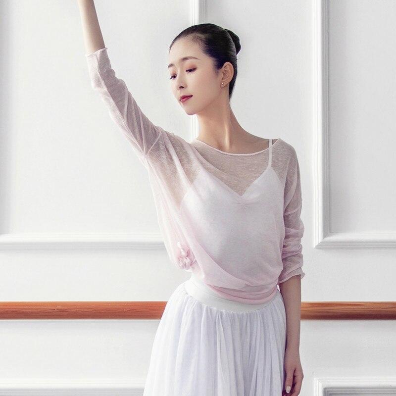 Mesh Long Sleeve Gymnastics Leotard Sweater Dance Dress Gauze Adult Female Ballet Base Training Clothes Shirt