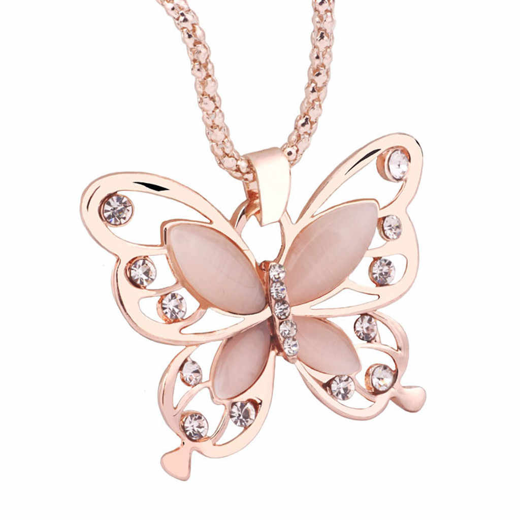Phụ Nữ Cổ Mới Lạ Nữ Hoa Hồng Opal Vàng Tiết Bướm Mặt Dây Chuyền Dài Dây Chuyền Vòng Cổ Trang Sức Collier Femme Женское Ожерелье