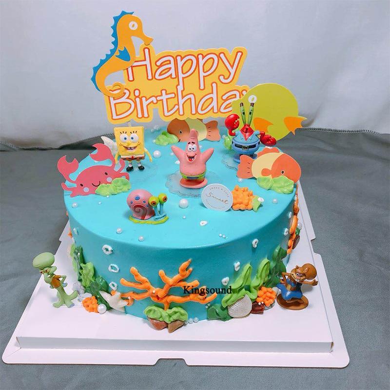 Spongebob Figure Model Toys For Kids Children Birthday Party Supplies Spongebob Toy Party Decoration Happy Birthday Cake Topper