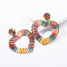 Lukeni Heart Shape Alloy Drop Earrings For Women Summer Raffia Handmade Boho Earring Hollow Out Party Eardrop Brincos