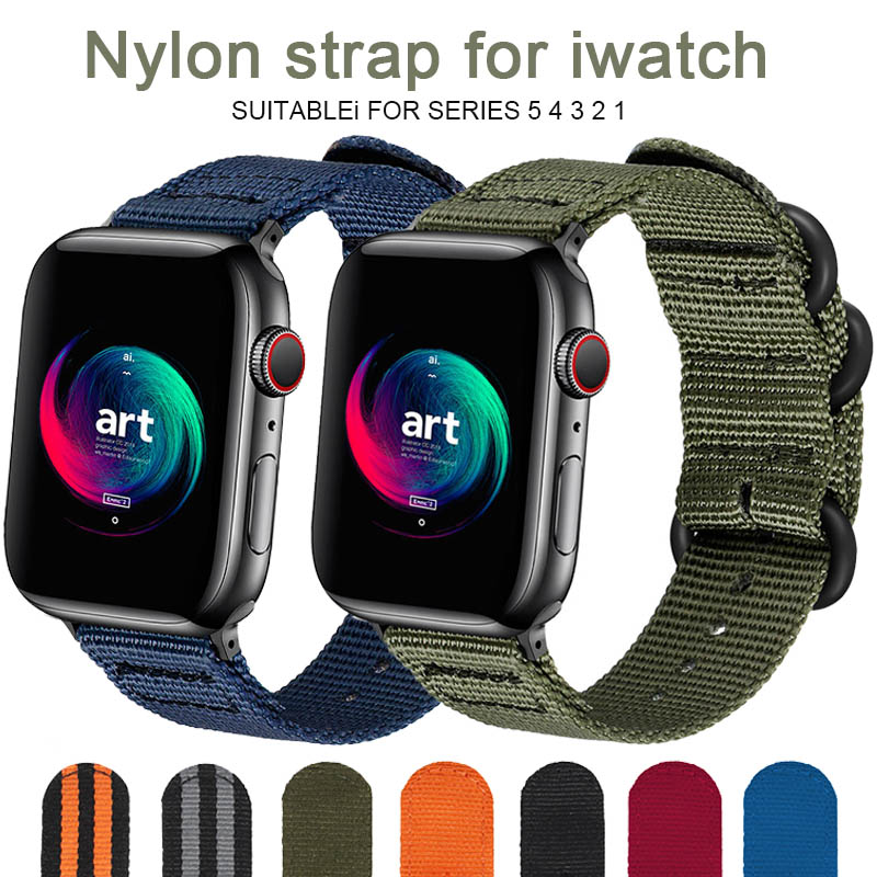 Hot Sell Nylon Watchband for Apple Watch Band Series 5 4 3 21 Sport Bracelet accessories 42 mm 38 mm 40mm 44mm Strap For iwatch