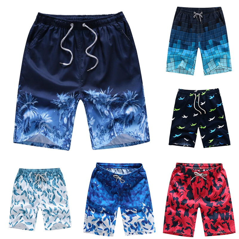 Board Shorts Couple Printed Quick-Dry Summer Casual Beach-Trunks Drawstring Loose Unisex