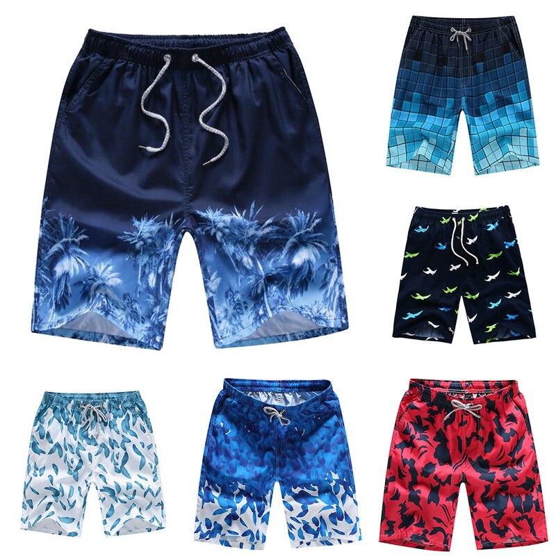 Board Shorts Quick-Dry Summer Beach-Trunks Drawstring Unisex Casual Women Print Loose