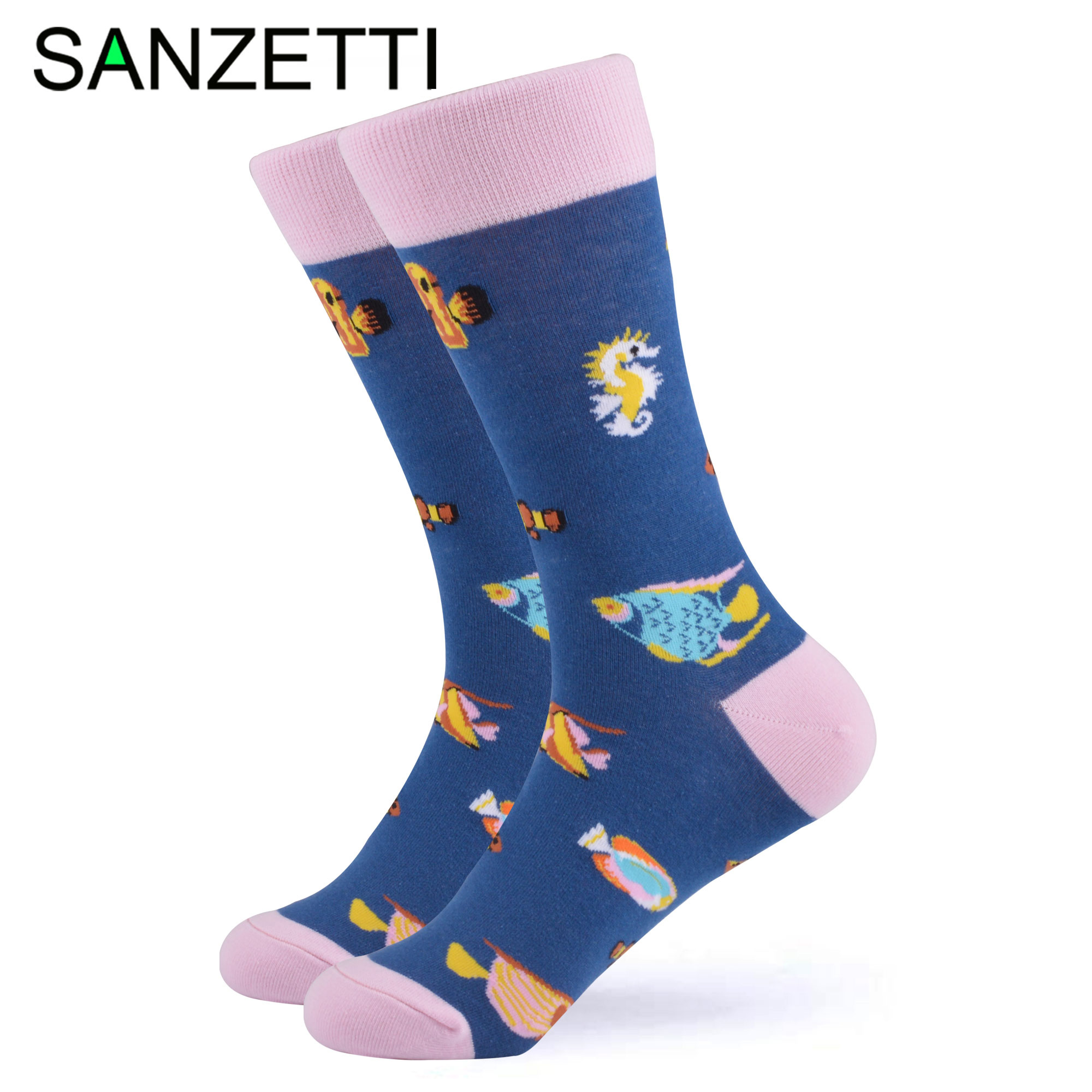 SANZETTI 1 Pair Colorful Bright Women Socks Novelty Combed Cotton Cute Party Cake Animal Pattern Gifts Wedding Dress Happy Socks