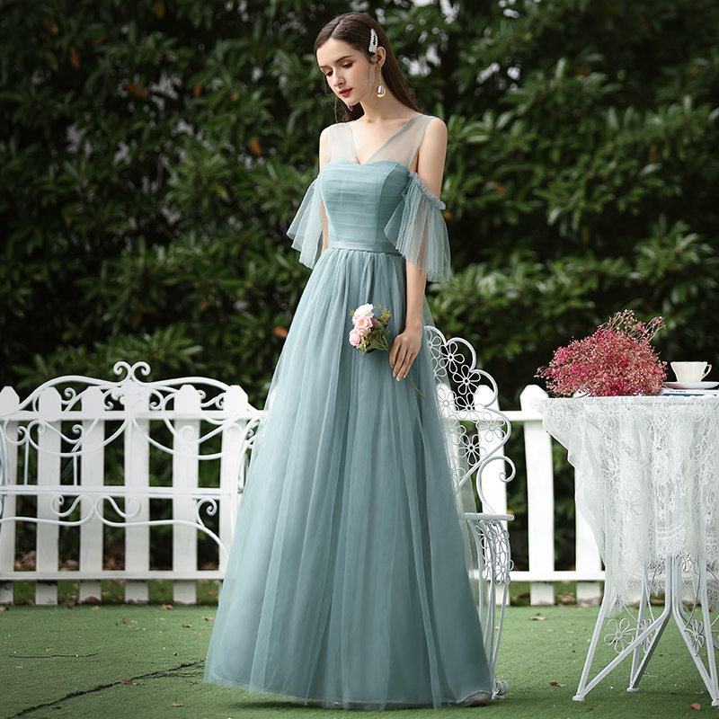 V-neck Vintage Formal Plus Size Bridesmaids Dresses Junior Elegant Dress Women For Wedding Party Long Sexy Prom Dress Burgundy