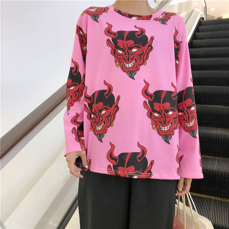 Autumn Women Cartoon Print T Shirt Casual Boyfriend Tshirt Harajuku Oversized Graphic Funny Female T-Shirts Streetwear White Top