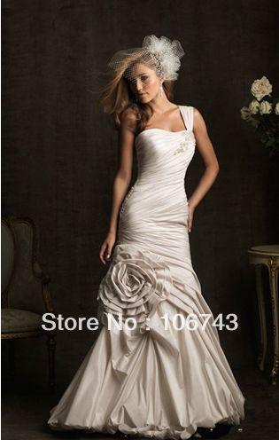 Free Shipping 2016 New Style Hot Sale Sexy Bride Wear Sweet Princess Custom Size Handmade Flowers Pleat Small Tail Wedding Dress