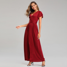 elegant sexy plunge neckline evening dress flutter sleeves deep front slit Prom dress waist-defining bow completes long dress