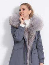 Natural Rabbit Liner Parka Real Coat 2020 Winter Jacket Women Large Raccoon Fur Collar Long Coats Parkas MY3756(China)