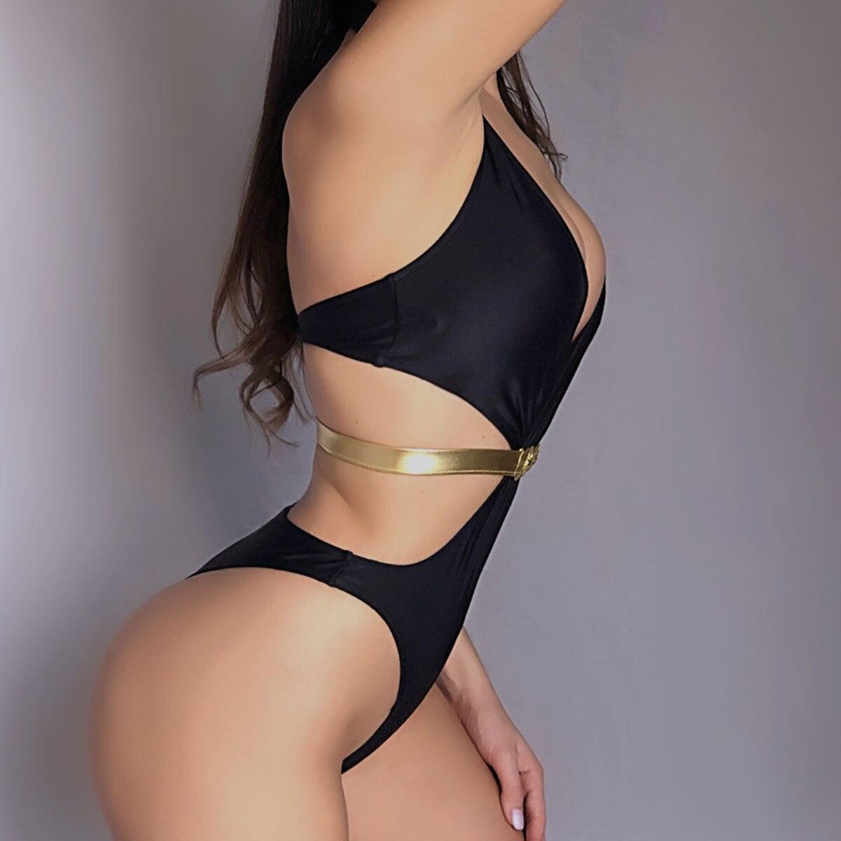ÇFree ShipOne-Piece Swimsuit Monokini Backless Sexy High-Cut Brazilian Women Glod