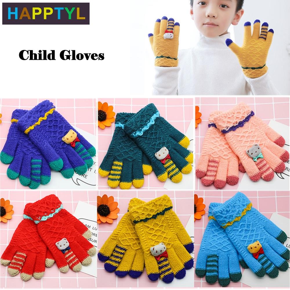 HAPPTYL 1Pair Child Gloves Kids Baby Girls Boys Kids Winter Warm Knitted Gloves Cartoon Magic Mittens Fits Kids Aged 3-8