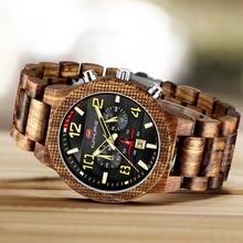 Reloj de madera con esfera grande de moda para hombre, relojes de lujo, cronógrafo, Casual, militar, de cuarzo, reloj de madera para hombre, reloj Masculino