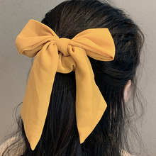 New Women Elegant Solid Color Knot Bow Ribbon Elastic Hair Bands Sweet Headband Hair Ornament Ponytail Holder Hair Accessories