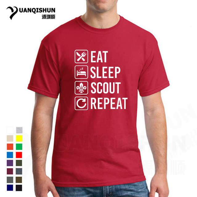 Eat Sleep Scout Repeat Funny T-Shirt Boy Scouting Mens Shirts Short Sleeve Tees 16 Colors Cotton T Shirt Unisex Clothing Hip Hop