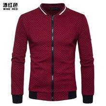 Jacket Men New Style  Diamond Contrast Color Zipper Stand Collar Rest Jacket Coat цена 2017