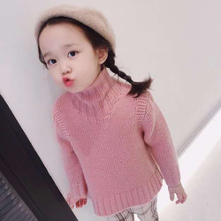 Spot 2020 New Autumn Toddler Girl Sweater Pink Turtleneck Pullover Warm Thick Knitted Cashmere Sweater Baby Girl Sweater