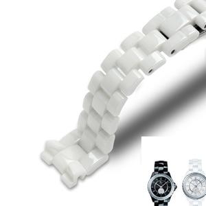 Image 5 - For J12 ceramics wristband high quality womens mens watch strap Fashion bracelet black white 16mm 19mm