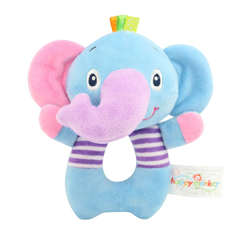 2018 Newborns Infant Baby Toy Kids Gift Elephant Lion Bear Animal Shaped Catoon Hand Bell Ring Rattles Kid Plush Soft Toy K0274