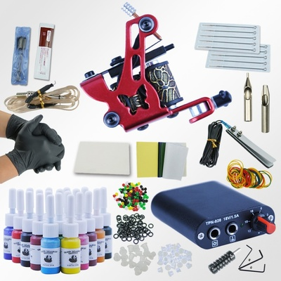 Tattoo Kit 20 Colors Tattoo Ink Sets Machines Set Black Power Supply Needles Permanent Make Up Professional Tattoo Kit