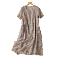 Linen Blend Loose Dress Vintage Embroidery Mid Calf Vestidos Casuales Moda New Summer Dresses Women Short Sleeve