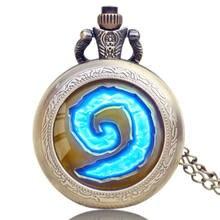 Antika kuvars cep saati world of warcraft kadın erkek saatler kolye kolye zinciri ile Fob saatler erkek hediyeler cep saati