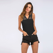 Casual Harajuku V Neck Tank Top Lace Stitching Sleeveless Vest Black Top Women 2019 Slim Summer Tops Cropped Clothing v neck sleeveless lace stitching design vest