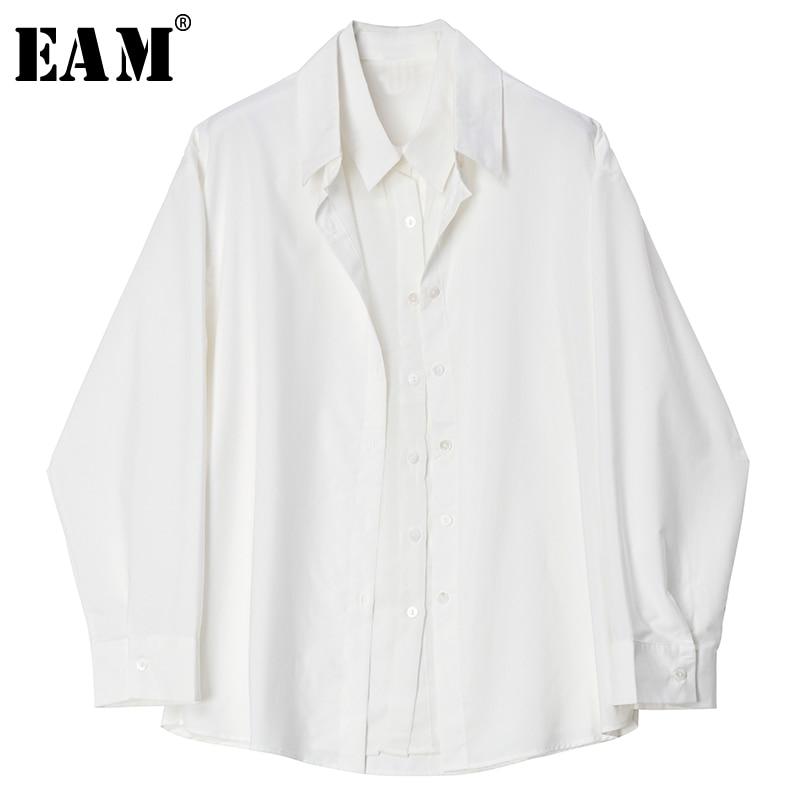 [EAM] Women White False Two Temperament Blouse New Lapel Long Sleeve Loose Fit Shirt Fashion Tide Spring Autumn 2020 1S633