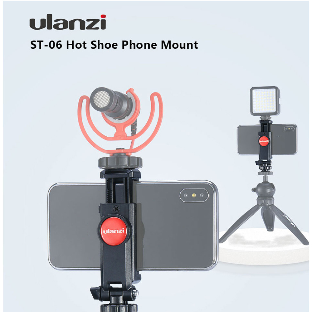 Ulanzi ST-06 <font><b>360</b></font> Degree Rotation Vertical Bracket Phone Clip Holder Clamp Mount with Cold <font><b>Shoe</b></font> for DSLR Phone Photo Monitoring image