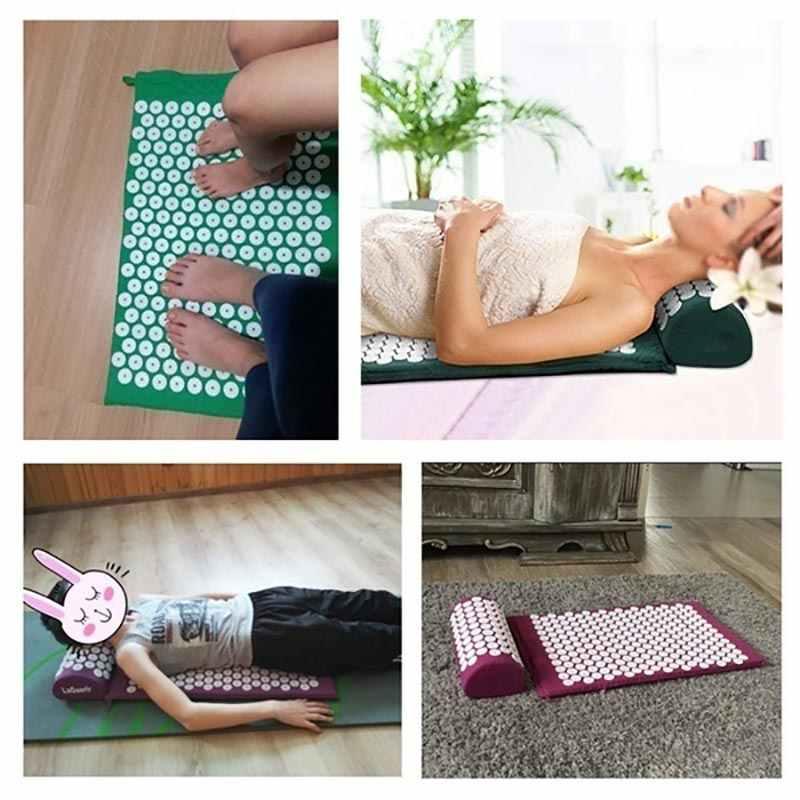 Masaj minderi masaj Yoga Mat Lotus Acupressure stres rahatlatmak geri vücut ağrısı başak baş boyun ayak anti-stres iğne yastık