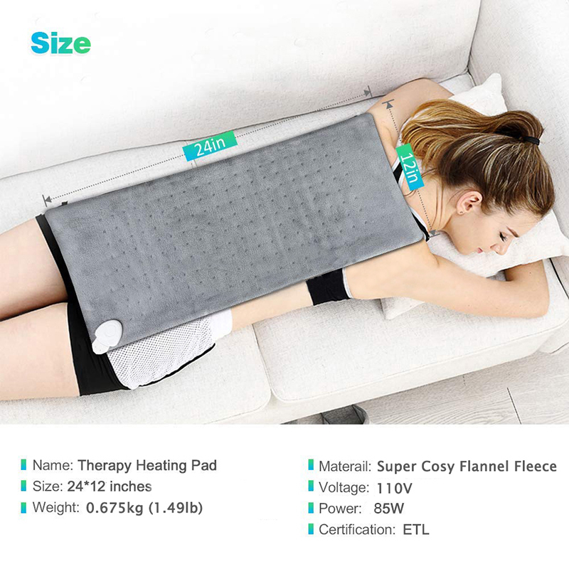 Extra Large 12*24'' 100 - 120V 85W Washable Electric Blanket Heating Pad 110V for Back Pain Relief Auto Off Body Warmer US Plug 4