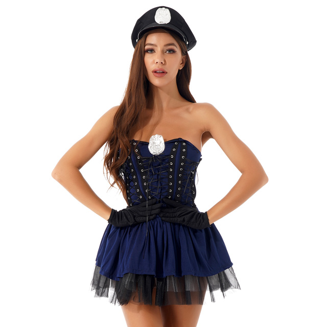 Sexy Halloween Policewoman Role Play Costume With Hat + Gloves 3