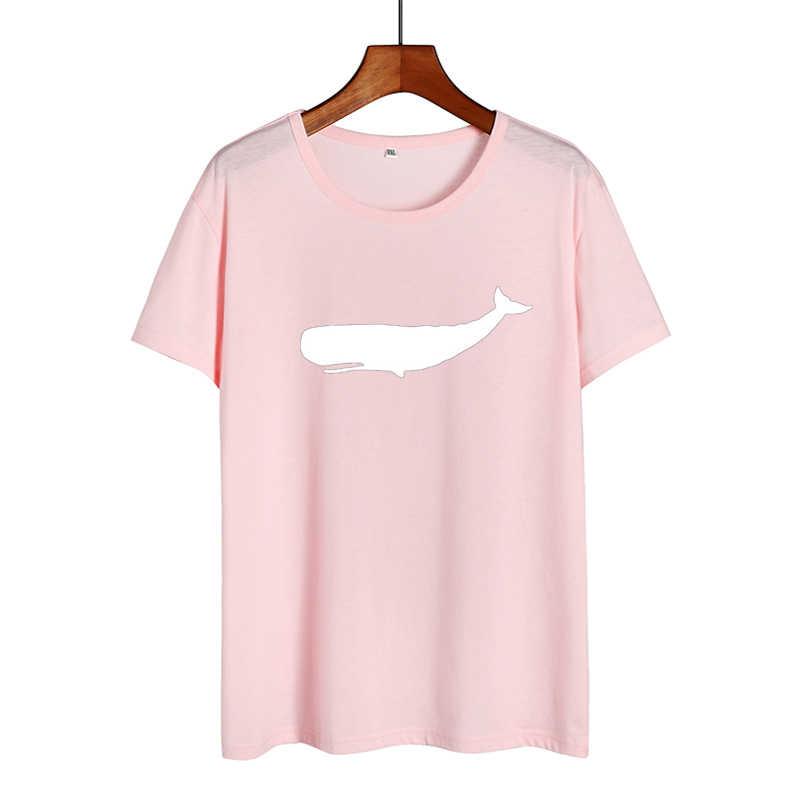 La Balena T-Shirt Moby Dick Grafici Magliette Donne Carino Stampato Tshirt Donne Magliette E Camicette Oceano Animale Harajuku Casual Tee Shirt Femme