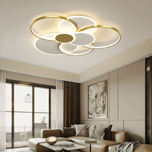 New Modern Ceiling Lights For Living Room Circle Gold/Black LED Flower Decor Bedroom Lamps Fixture With Remote Control Lustre