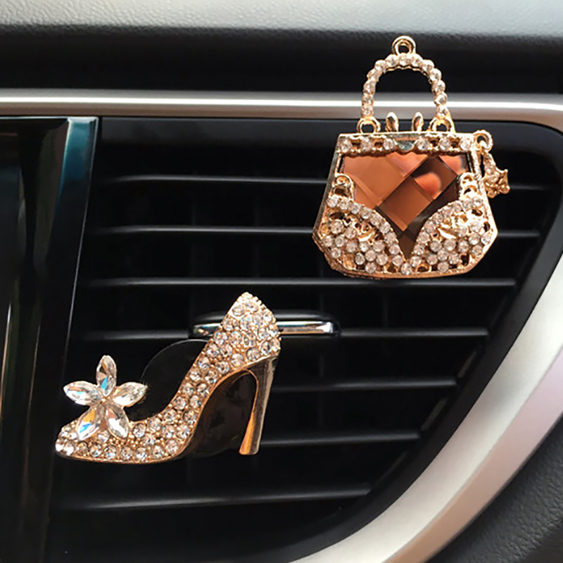 Car Decor Diamond Purse Car Air Freshener Auto Outlet Perfume Clip Car Scent Diffuser Bling Crystal Car Accessories Women Girls
