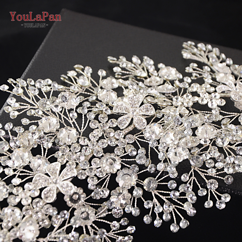 Image 5 - YouLaPan SH240 rhinestone belt bridal jeweled belt for formal dress Sliver diamond belt Alloy flower crystal beaded belts-in Bridal Blets from Weddings & Events