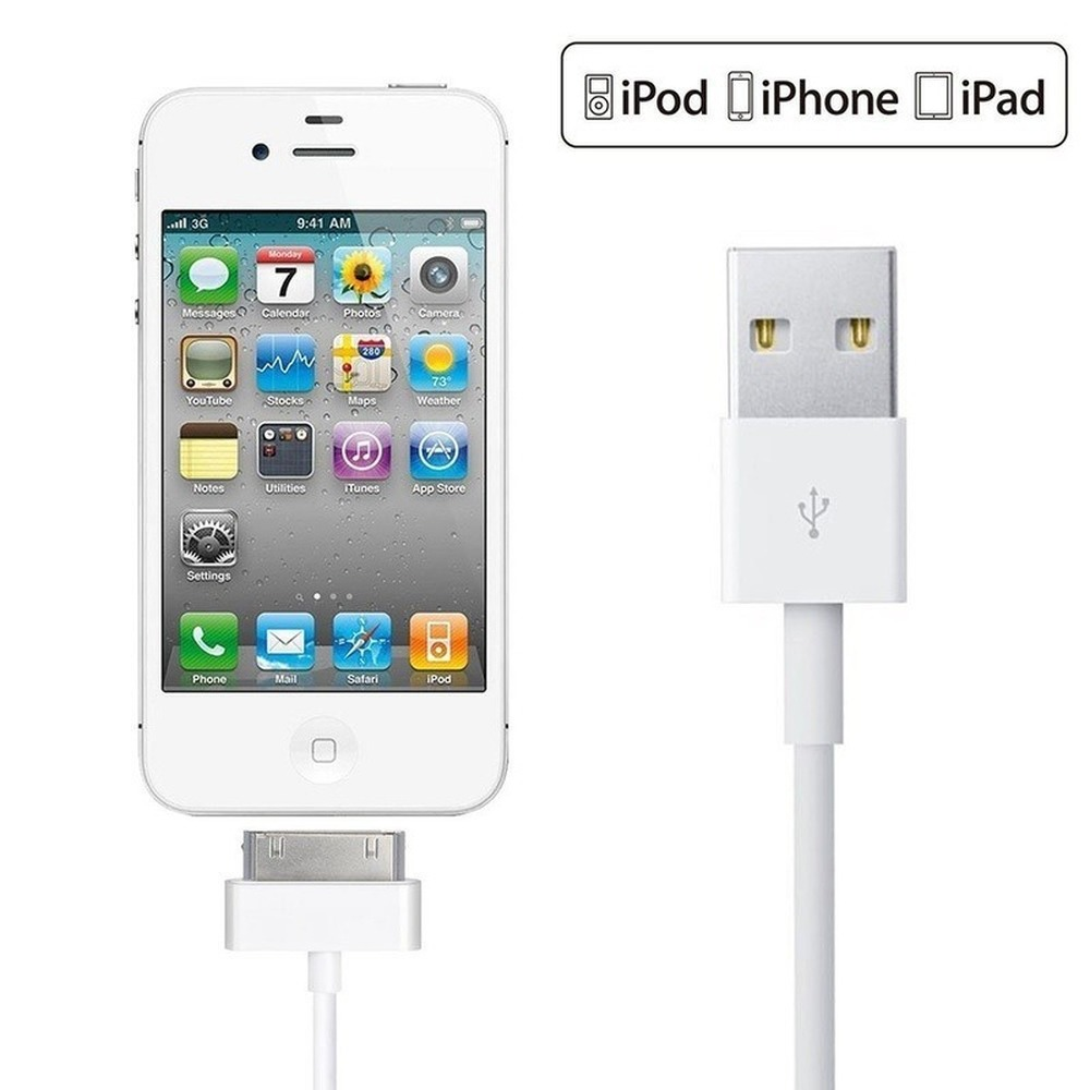 2Pcs 30pin USB charger cable fo iPhone4s iphone4 30-pin data usb charging cavo chargeur cablefor <font><b>iPhone</b></font> <font><b>4</b></font> 4s iPod nano ipad 2 3 image